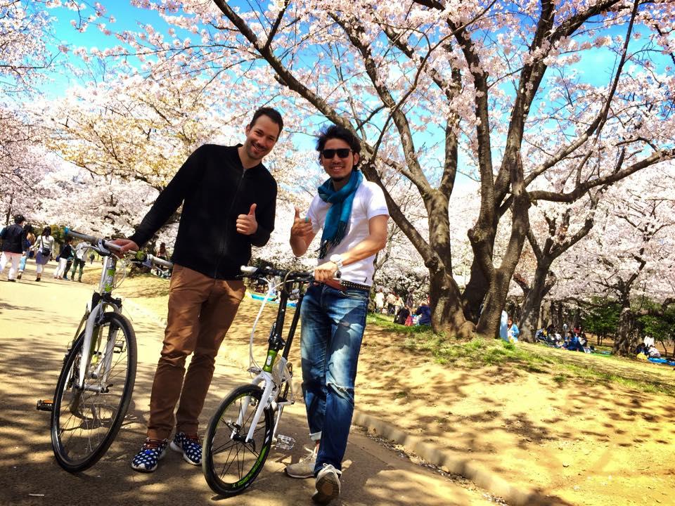 ゲストと代々木公園をサイクリング
